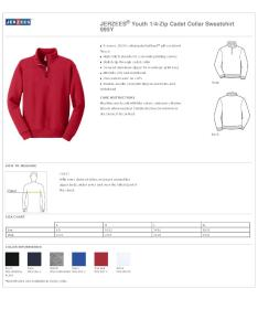 Specs sizing  also jerzees  youth quater zip cadet collar sweatshirt  fleece rh nyfifth