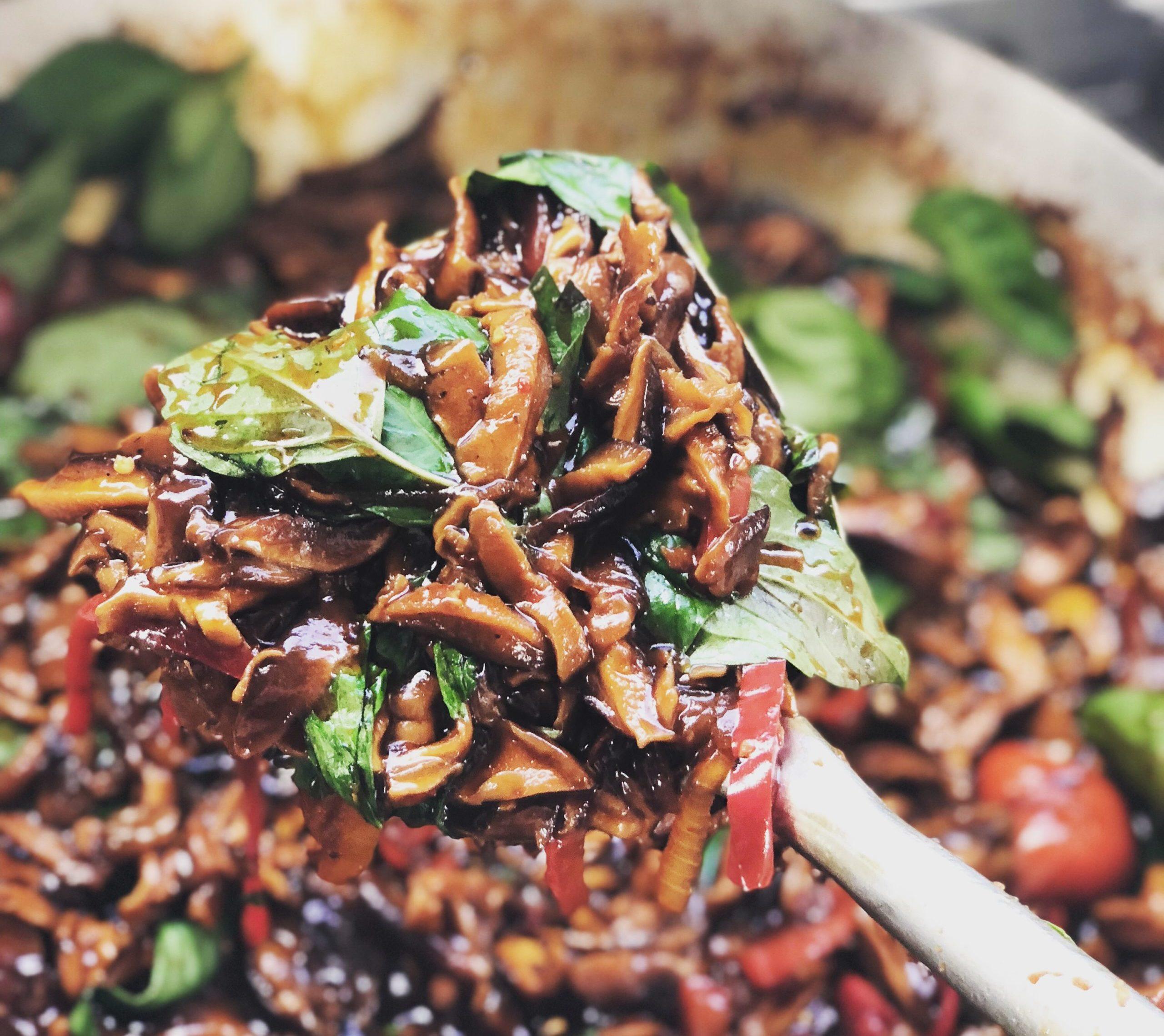 warung roadside thai food truck shiitake holy basil stir fry