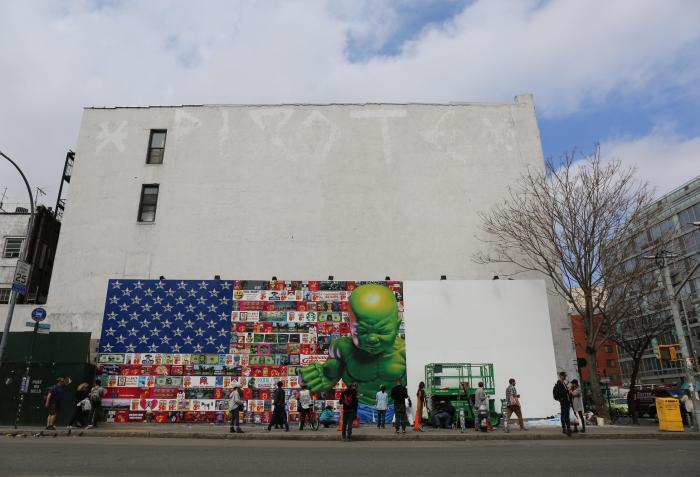 New Piece Goes Up At the Bowery Mural By Ron English