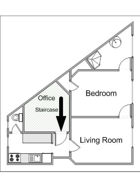 Paris 1 Bedroom apartment - apartment layout  (PA-4192)