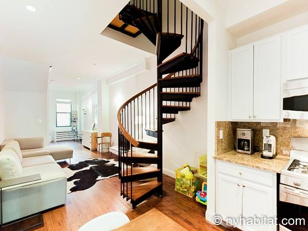 New York Apartment 4 Bedroom Duplex Apartment Rental In Harlem | Duplex Living Room With Stairs | Modern | Single Room | Duplex Step | Indoor | Balcony