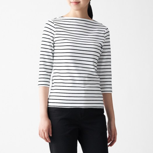 Ladies' Stretch Rib Knit Boat Neck 3/4 Sleeve T-Shirt. Before, $15.90 — Now, $13.90.