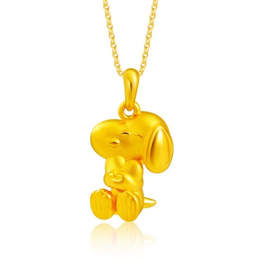 999 Pure Gold Snoopy Is Love Pendant (S$389)
