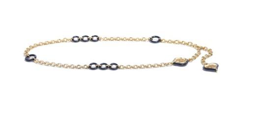 Belt in golden metal and navy resin