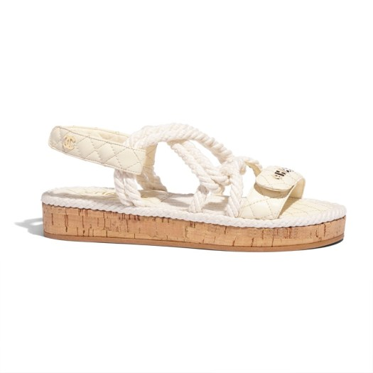 Sandals in white cord, cork and leather