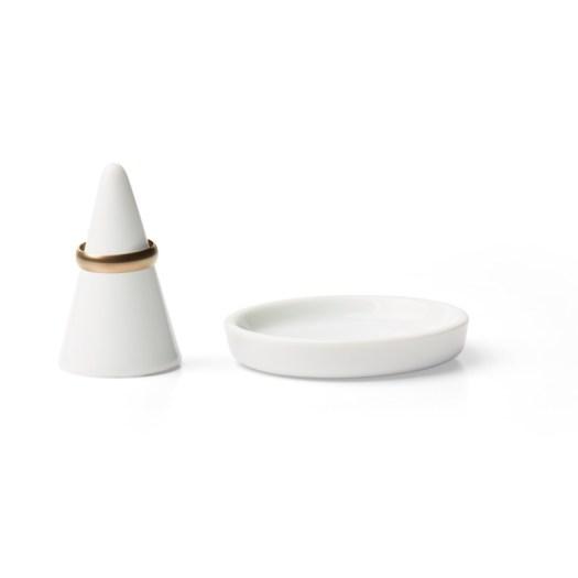 White Porcelain Tray, $4.30 & Ring Holder, $4.90
