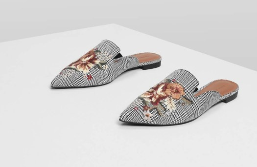 Charles & Keith Floral Embroidery Slip Ons, $46.90