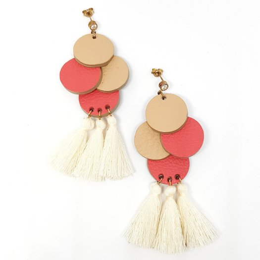 Blithe and Merry Quad Circle Earrings with Tassels in Cream, $32