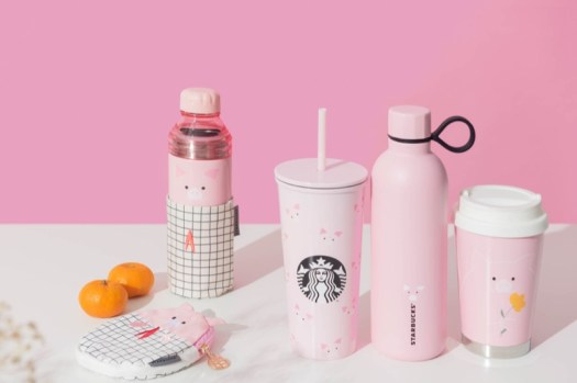 Left to right: Pouch ($14.90), Stainless steel water bottle with jacket, 20oz ($55.90 — Only availableat selected stores), Cold Cup 16oz ($36.90), Bottle 20oz ($39.90), Cup 12oz ($39.90)