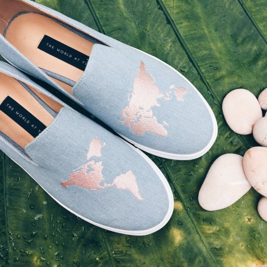 The World At Your Feet Denim Slip-ons, $120
