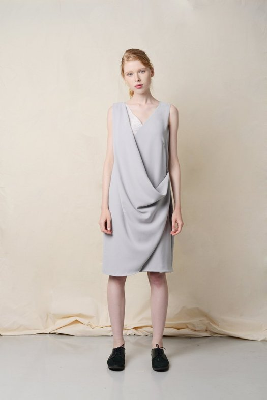 THYINE Drape Wrap Front Dress in Grey, $129