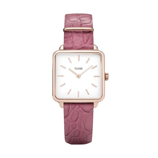 Cluse La Tetragone with an alligator textured strap in Pink ($149)