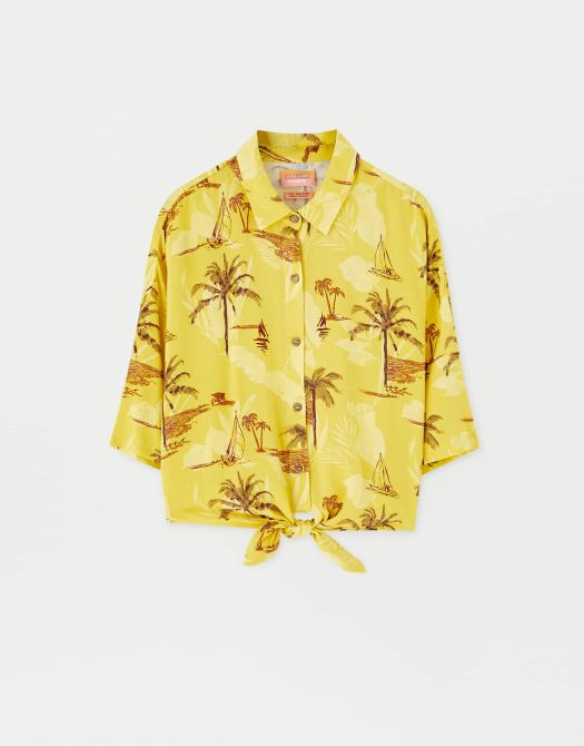 Sadie Sink Palm Tree Print Shirt, $45.90