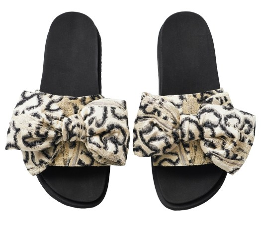 Printed Bow Slides, $109