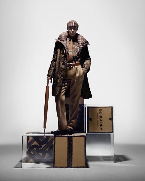 THE GENTLEMAN: a nylon car coat, rib-knit beanie and shirt.