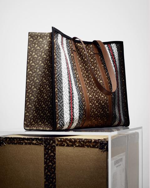 Monogram Stripe E-canvas Tote Bag, $1,750