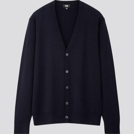Men's Extra Fine Merino V Neck Long Sleeved Cardigan in 69, $59.90