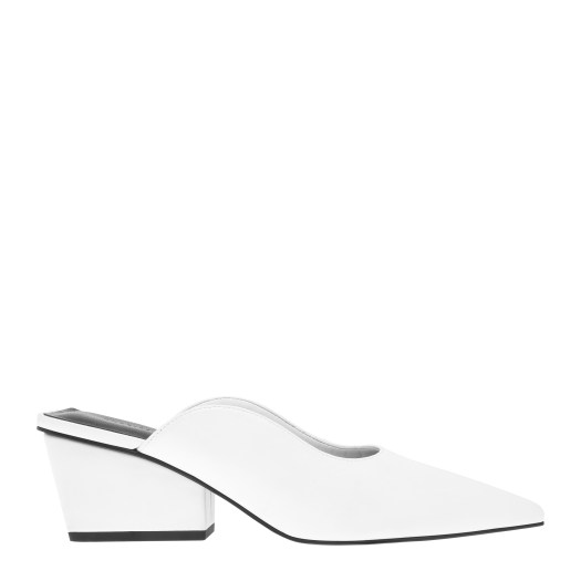 POINTED TOE WEDGE HEEL MULES IN WHITE, $49.90