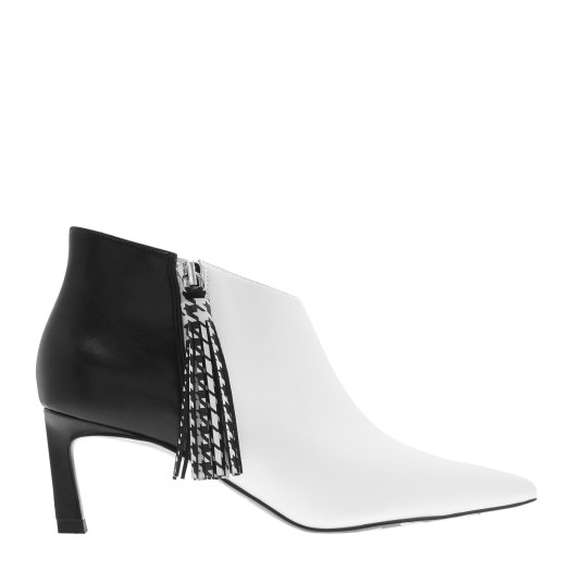 HOUNDSTOOTH PRINTED TASSEL HEELED ANKLE BOOTS, $75.90