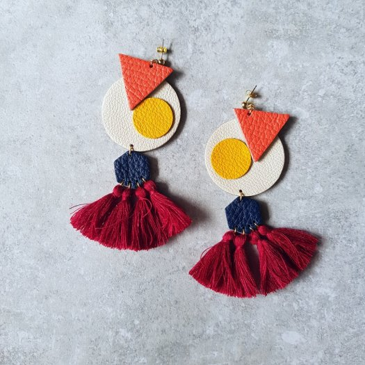 Blithe and Merry OVO Earrings with Tassels (CREAM), $52
