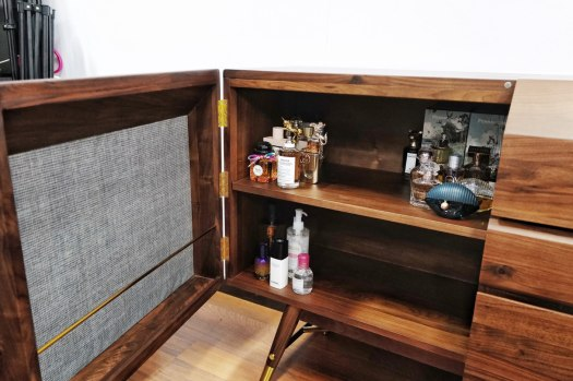 An inside look of the Volta sideboard.