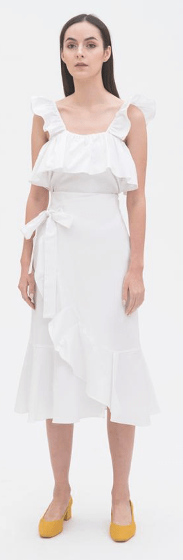 Ruffled Sleeveless Top in White, $69Ruffled Wrap Skirt in White, $89