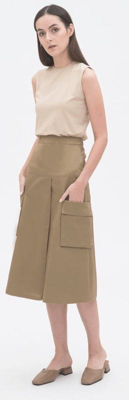 Sleeveless Vest Top in Sand, $49Double Pocket Mid Length Skirt in Camel, $89