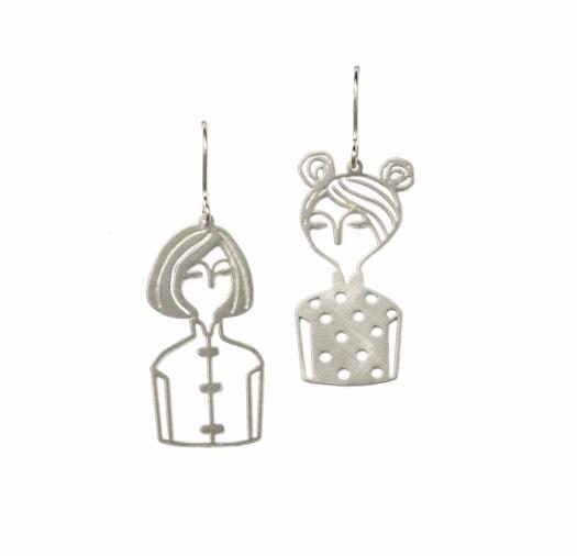Cheongsam Chicks Earrings Silver $108