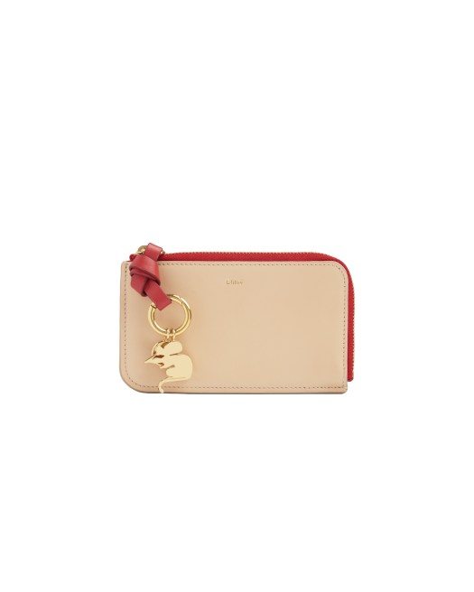Chloé Alphabet Leather Purse with Card Slots in Shiny Calfskin $350