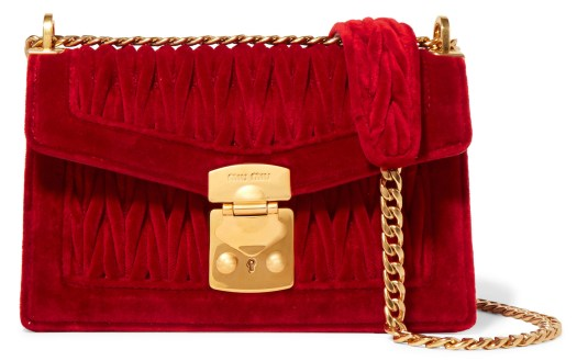 Miu Miu Confidential Matelassé Velvet Shoulder Bag $2,508