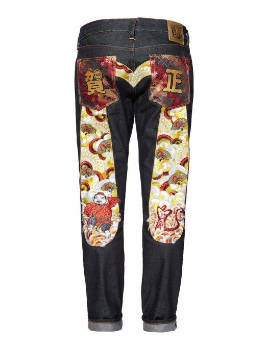 EVISU 'Year of the Rat' Carrot-fit Selvedge Denim Jeans Back $1,037