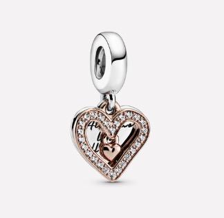 Pandora Sparkling Freehand Heart Dangle Charm $99