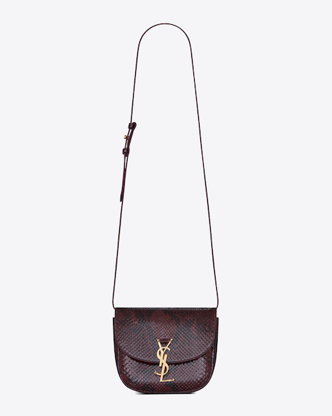 Saint Laurent Kaia Small Satchel in Burgundy Python $2,890