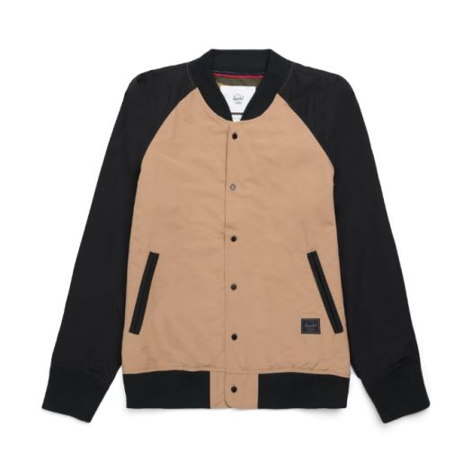Herschel Varsity Jacket in Khaki/Black/Dark Olive, $60
