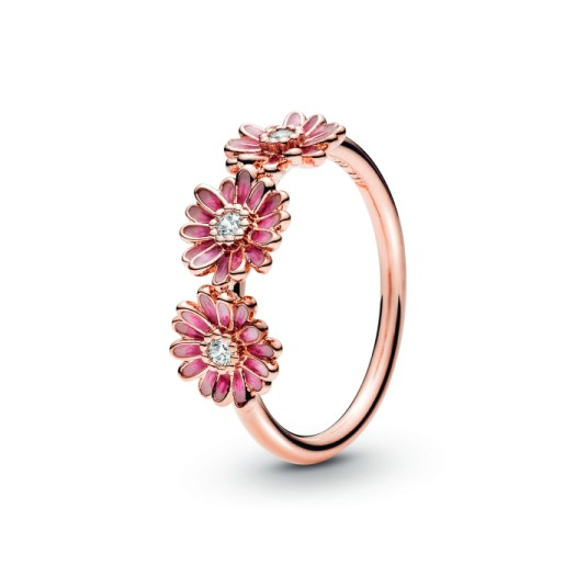 Pink Daisy Flower Trio Ring, $159