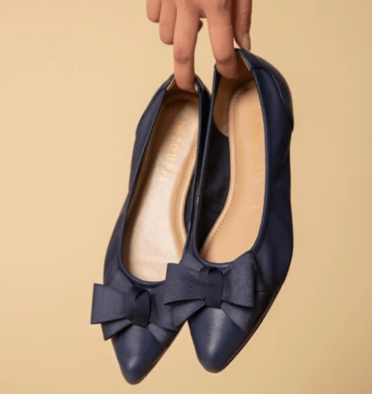 TOUFIE Bow Flexi Midnight Flats, $229