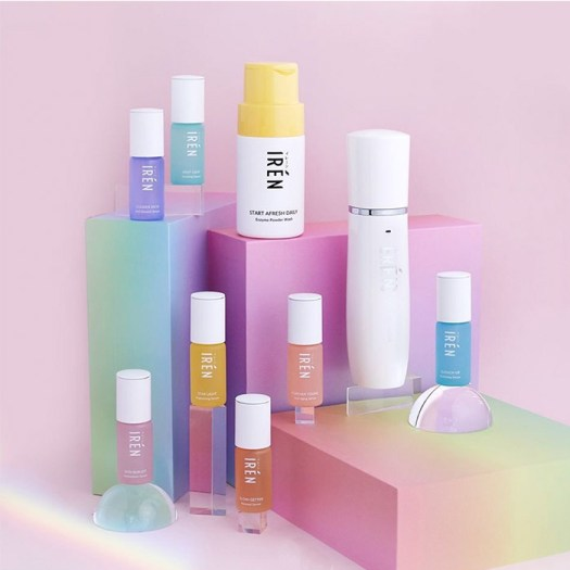 The Start Afresh Daily Enzyme Powder Wash ($35), Skin Vaporizer Nano Face Spray ($338.00), Iren Skin's series of Serums ($58 each), are available online at irenskin.com.