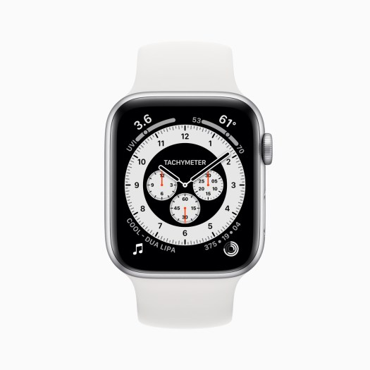 Apple Watch Series 6 Aluminum Silver Case with Chronograph watch face