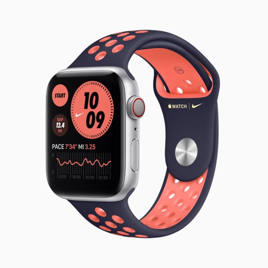 Apple Watch Series 6 Aluminum Silver Case with Nike Watch Purple/Pink Band