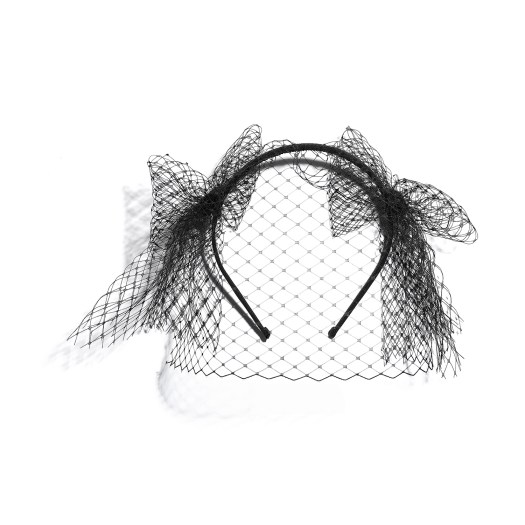 Hairband in black fishnet and grosgrain