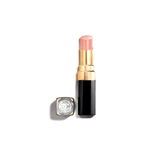 ROUGE COCO FLASH 154 Douceur (a pearly ivory pink. Use this shade as a top coat by dabbing it onto the center of the lips), $54