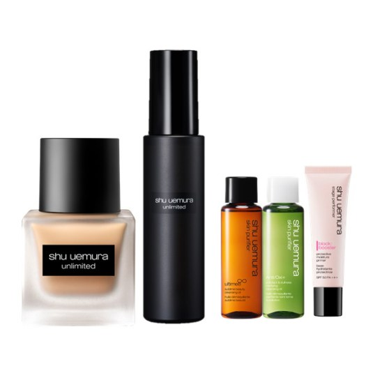 shu uemura : Receive a complimentary 3-piece gift set with any purchase of Unlimited Fluid Foundation and Fix Mist at $118 (total worth $154). Member's exclusive: Receive an additional 50ml premium cleansing oil with purchase of any Unlimited Fluid Foundation Set.