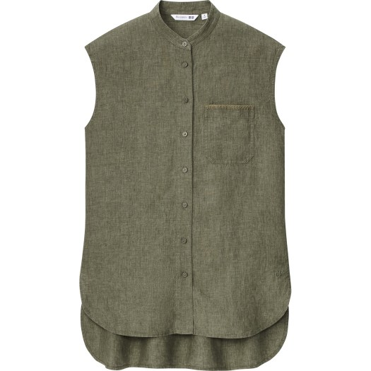 Women's JW Anderson Linen Stand Collar Sleeveless Shirt, $59.90