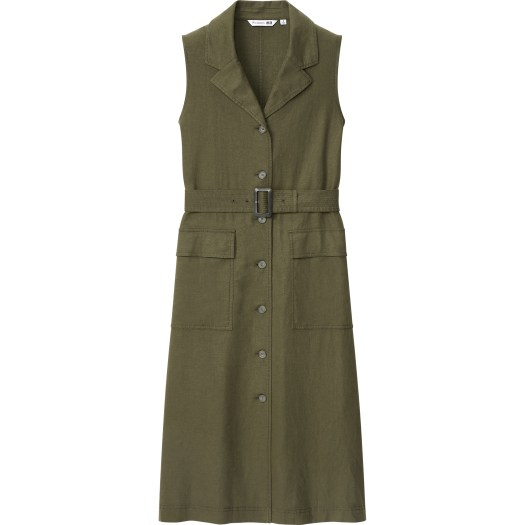 Women's JW Anderson Linen Blend Belted Sleeveless Lapel Dress, $79.90