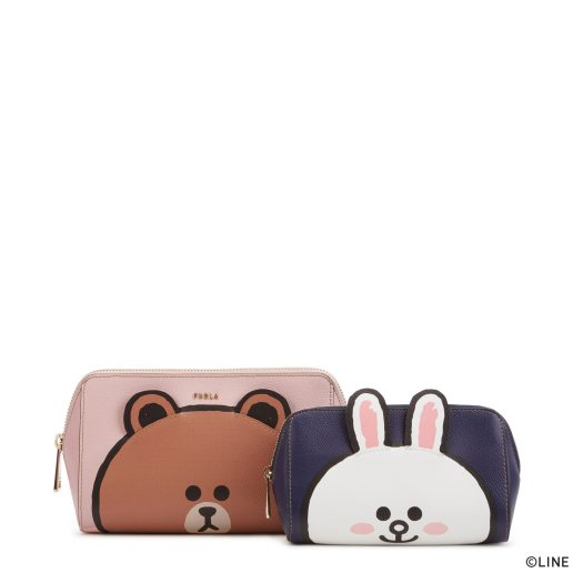FURLA LINE FRIENDS M COSMETIC CASE SET, BROWN & CONY