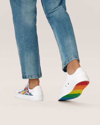 Details: Find Your Pride graphic screen print ; alternating Struggle/Joy prints ; graphic details represent Trans, Pan and Bi communities ; rainbow rubber outsole.