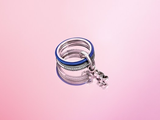 Pandora ME Ring in Electric Blue ($49) + Pandora ME Pavé Ring in Sterling Silver ($69). Linked Together with Pandora ME Ring Connecter in Sterling Silver ($29).