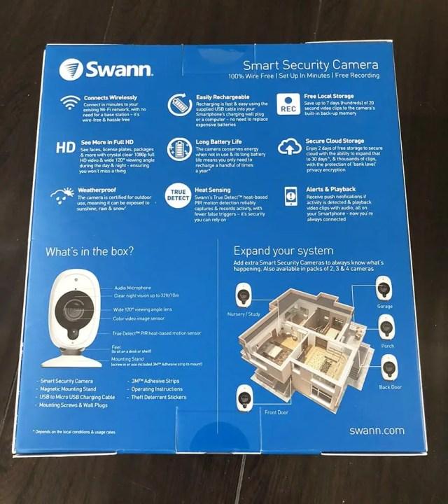 Swann Smart Security Camera Wireless 1080 Packaging Back