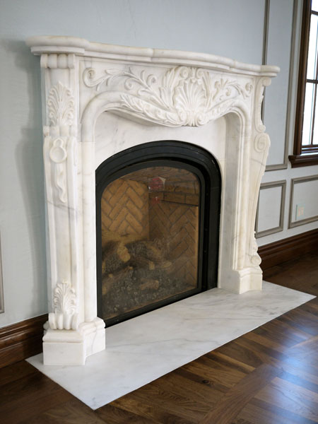 Classic french carved white marble fireplace  NY New Design
