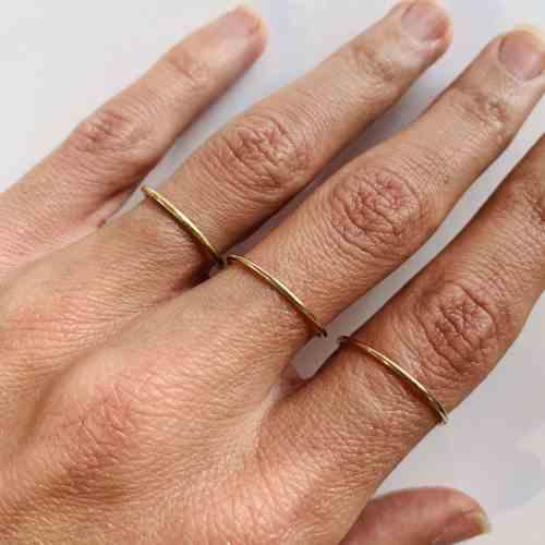 Nynybird Anneau en or 18 carats de 1mm